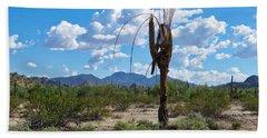 Dying Saguaro In The Desert Beach Sheet