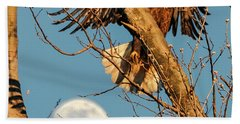 Eagle And Moon  Beach Towel