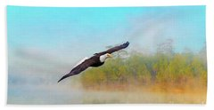 Eagle Out Of The Mist Beach Towel