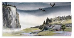 Beach Towel featuring the painting Eagle View by Deleas Kilgore