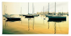 Early Mornings At The Harbour Beach Towel