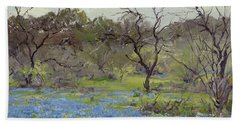 Early Spring Bluebonnets And Mesquite, 1919 Beach Towel