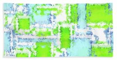 Earth And Sky Abstract Green And Blue Beach Towel