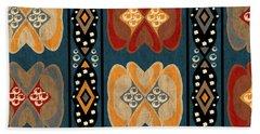 East African Heart And Diamond Stripe Pattern Beach Towel
