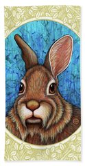 Eastern Cottontail Portrait - Cream Border Beach Towel