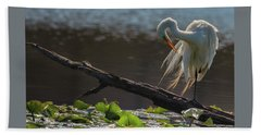 Egret 5 Beach Towel