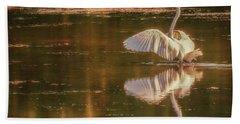 Egret Reflections 2 Beach Towel