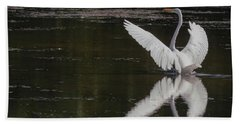 Egret Reflections Beach Towel