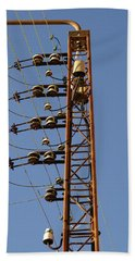 Electric Wires Pole Beach Towel
