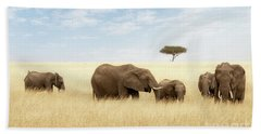 Elephant Group In The Grassland Of The Masai Mara Beach Towel
