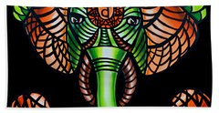 Zentangle Elephant Head Art Painting, Sacral Chakra Art, African Animal Tribal Artwork Beach Towel
