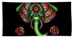 Elephant Head Painting Sacral Chakra Art Zentangle Elephant African Tribal Artwork Beach Towel