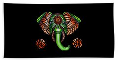 Beach Towel featuring the painting Elephant Head Painting, Sacral Chakra Art, African Tribal Animal Artwork, Zentangle Art by Ai P Nilson