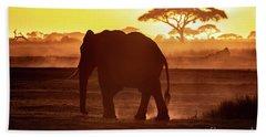 Elephant Walking Through Amboseli At Sunset Beach Towel