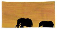 Elephants - At - Sunset Beach Towel