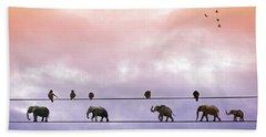 Elephants On The Wires Beach Towel