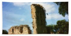 Elgin Cathedral Ruins Painting Beach Towel