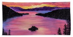 Emerald Bay Sunset Beach Towel