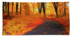 Emmaus Community Park Path - Colors Of Fall Beach Towel