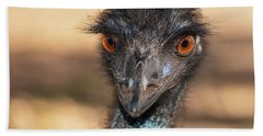 Emu By Itself Outdoors During The Daytime. Beach Towel