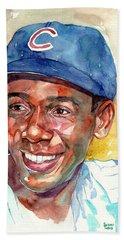 Ernie Banks Portrait Beach Towel