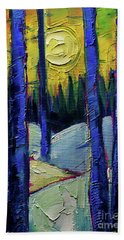 Ethereal Winterscape Palette Knife Oil Painting Mona Edulesco Beach Towel