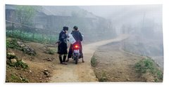 Ethnic Minority On The Road In Sapa, Vietnam Beach Towel