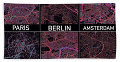 European Capital Cities Maps Beach Towel