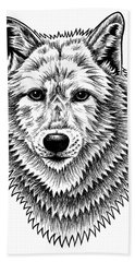 European Wolf - Ink Illustration Beach Towel