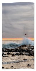 Beach Towel featuring the photograph Explosive Sea 1 by Jeff Sinon
