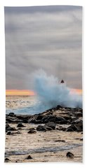Beach Towel featuring the photograph Explosive Sea 2 by Jeff Sinon