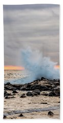 Beach Towel featuring the photograph Explosive Sea 3 by Jeff Sinon