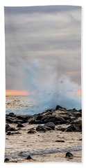 Beach Towel featuring the photograph Explosive Sea 4 by Jeff Sinon