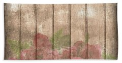 Faded Red Country Roses On Wood Beach Towel