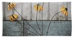 Beach Towel featuring the photograph Fake Wilted Flowers by Steve Stanger