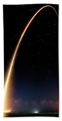 Beach Sheet featuring the photograph Falcon 9 Rocket Launch Outer Space Image by Bill Swartwout Fine Art Photography