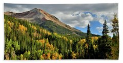 Fall Color Aspens Beneath Red Mountain Beach Towel