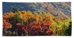 Fall Colors Along Avalanche Creek Road Beach Sheet