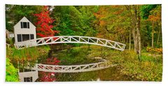 Fall Footbridge Reflection Beach Towel
