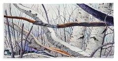 Fallen Birch Trees After The Snowstorm In Watercolor Beach Sheet