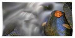 Beach Towel featuring the photograph Fallen Leaf And Mountain Stream by Rick Berk