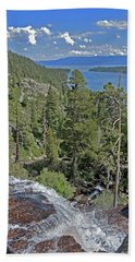 Beach Towel featuring the photograph Falls Above Emerald Cove by Lynda Lehmann