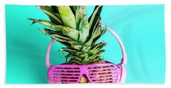 Fashionable Trendy Pineapple Fruit With Headphones And Sun Glass Beach Towel