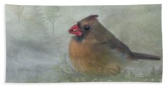 Beach Towel featuring the photograph Female Cardinal With Seed by Patti Deters