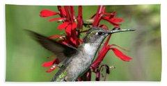 Female Ruby-throated Hummingbird Dsb0325 Beach Towel