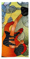 Fender Guitar ..stained Glass Art Work Beach Towel