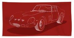 Ferrari 250 Gto - White Blueprint On Red Beach Towel