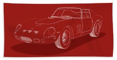 Ferrari 250 Gto - White Blueprint On Red Beach Sheet