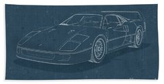Ferrari F40 - Blueprint  Beach Sheet