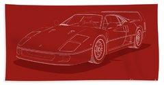 Ferrari F40 - White Blueprint On Red Beach Towel